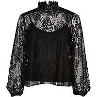 Black lace high neck blouse