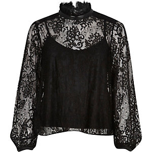 Black lace high neck blouse