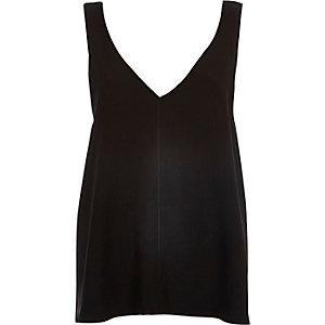 Black V-neck open back vest
