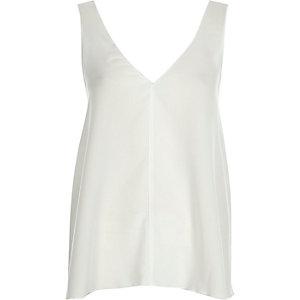 White V-neck open back vest