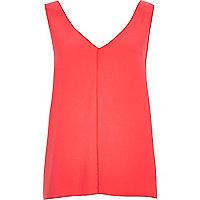 Pink V-neck open back vest