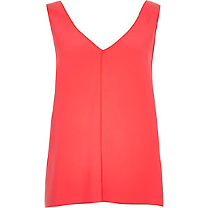 Pink V-neck open back vest
