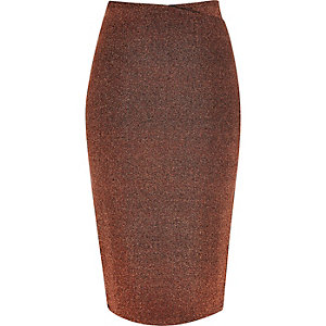 Metallic bronze wrap top pencil skirt