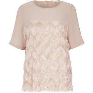 Light pink fringed t-shirt