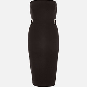 Black bandeau buckle bodycon dress