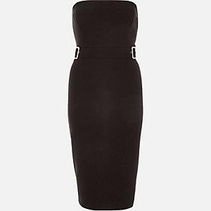 Black bandeau buckle bodycon dress