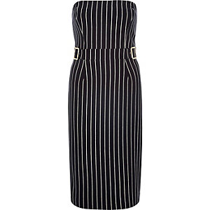 Navy stripe bandeau buckle bodycon dress