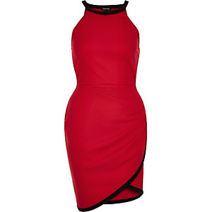 Red 90s style wrap bodycon dress
