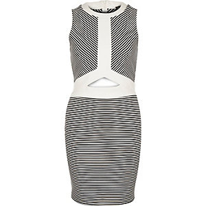 Black stripe cut-out bodycon dress