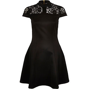 Black lace panel scuba skater dress
