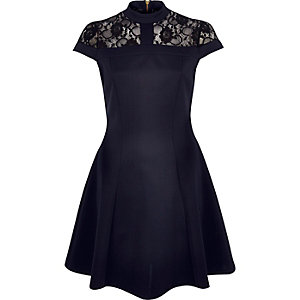 Navy lace panel scuba skater dress