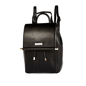 Black minimal metal bar backpack