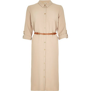 Beige belted shirt dress