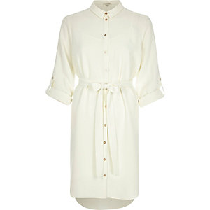 Cream belted shirt dress