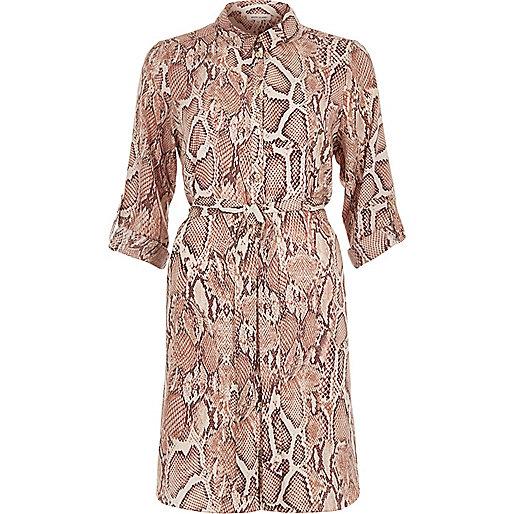 Snake Shirt Dress Pink Snake Print Shirt Dress