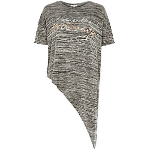 Grey escape ordinary print asymmetric top