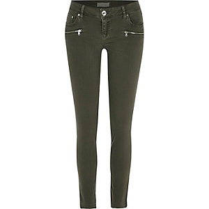 Khaki low rise zip Amelie superskinny jeans