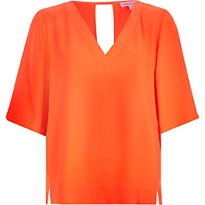 Bright orange relaxed V-neck t-shirt