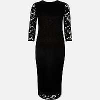 Black lace sleeve bodycon midi dress