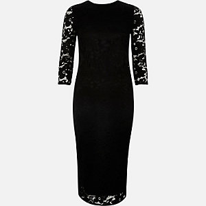 Black lace sleeve bodycon midi dress