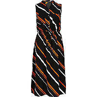 Navy stripe midi shirt dress