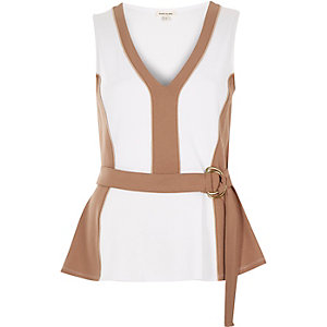 Brown peplum D-ring top