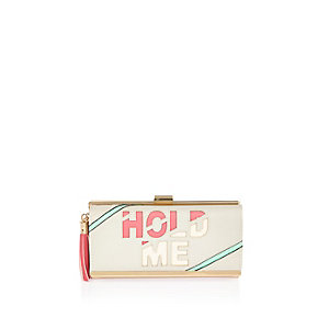 Light grey slogan cliptop purse