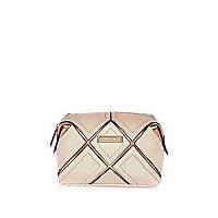 Pink gold grid make up bag