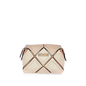 Pink gold grid make up bag