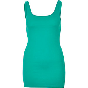 Green scoop neck longline vest
