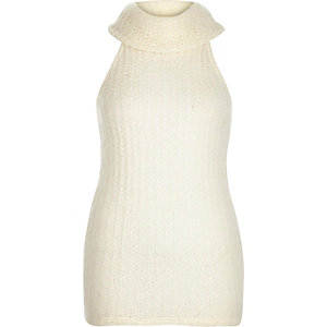 Cream knitted cowl neck top