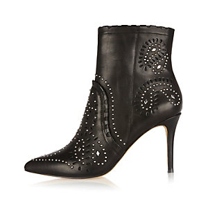 Black leather studded laser cut ankle boots