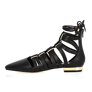 Black caged lace-up pointed shoes