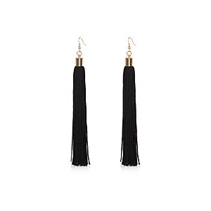 Black tassel dangle earrings