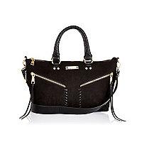 Black mini whipstitch tote handbag