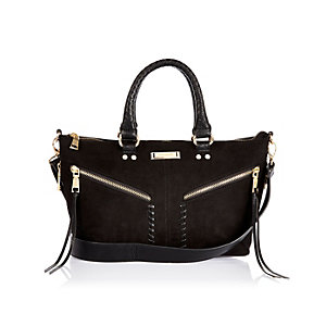 Black mini whipstitch tote handbag