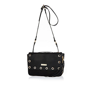 Black eyelet cross body handbag