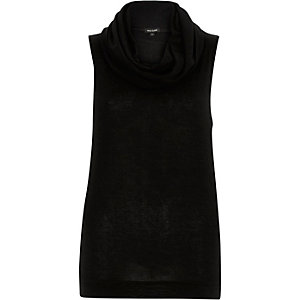 Black knitted cowl neck sleeveless top