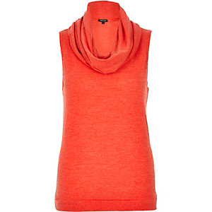 Red knitted cowl neck sleeveless top