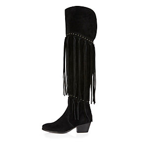 Black over the knee fringed boots