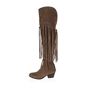 Taupe brown over the knee fringed boots