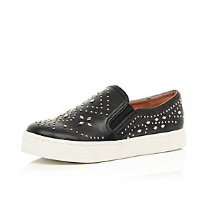 Black studded plimsolls