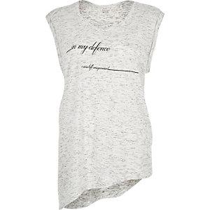 White slogan print asymmetric t-shirt