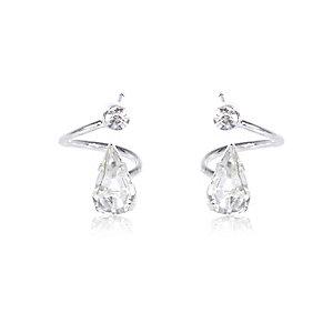 Silver tone teardrop spiral stud earrings