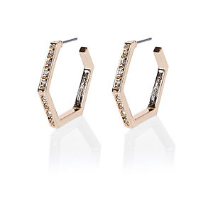 Gold tone embellished hexagon hoop earrings