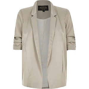 Grey satin ruched sleeve blazer jacket