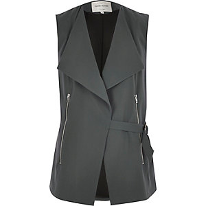 Grey smart D-ring sleeveless jacket