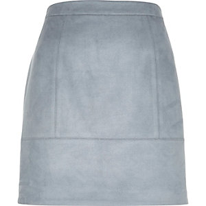 Blue faux-suede A-line skirt