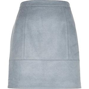 Blue faux-suede A-line skirt