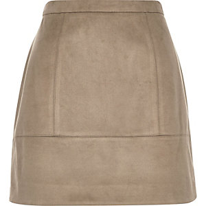 Brown faux-suede A-line skirt